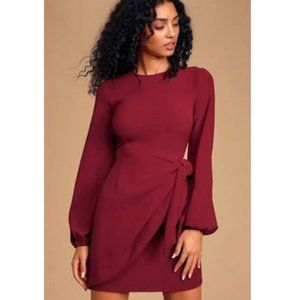 Lulus Tie-Front Long Sleeve WIne Red Dress XS NWT